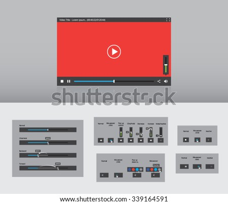 simple video player web graphical user interface ui gui ux - stock vector
