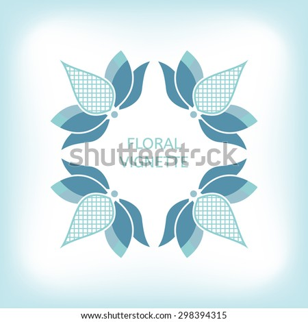 Simple vignette with blue lotus flower - stock vector