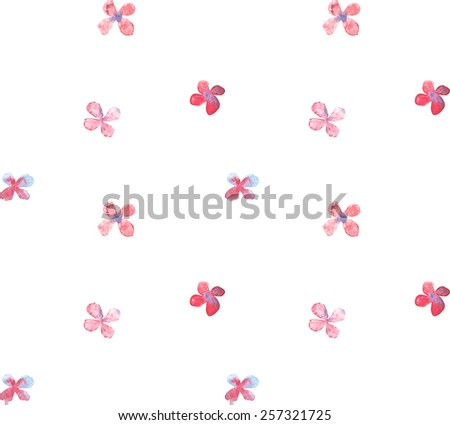 Simple watercolor flower seamless pattern. Vector illustration - stock vector
