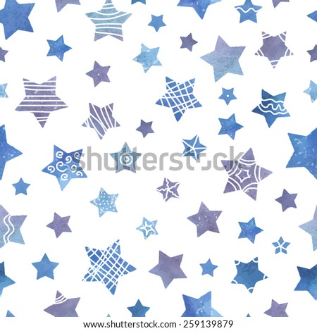 simple watercolor seamless pattern with stars