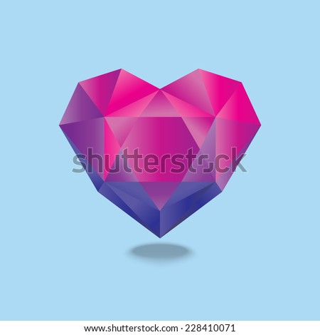 Simple web icon in vector, heart illustration polygon - stock vector