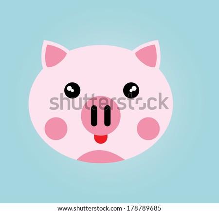 Simple web icon in vector: pig - stock vector
