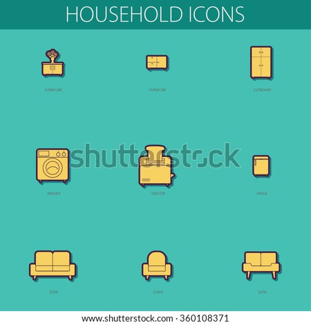 Simple web icons household objects to the design of flat color. Big set of 9 icons. Furniture, Clipboard, Washer, Toaster, Fridge, Sofa, Chair  - stock vector