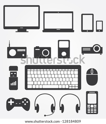 Simple web icons set in vector: Gadgets & Other Electronics - stock vector