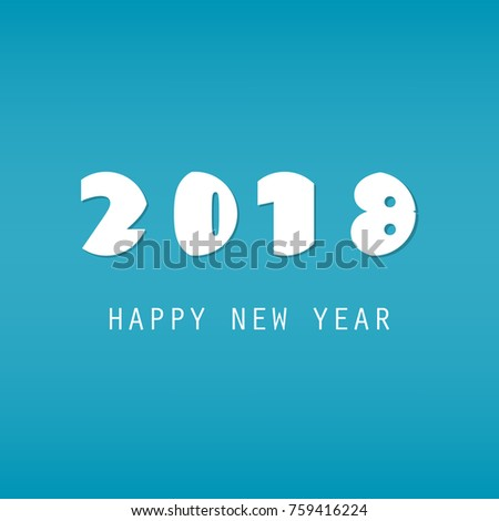 simple white and blue new year card cover or background design template 2018