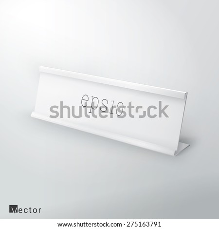 Simple White Name Plate Mock Up Vector Illustration - stock vector