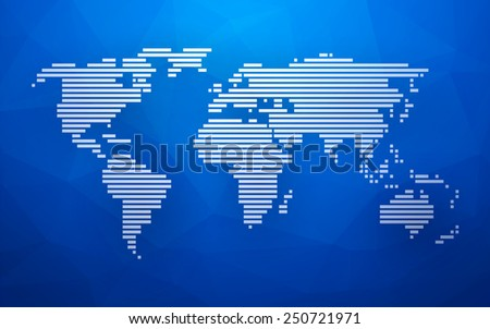 simple world map made up of white stripes on a blue background triangular - stock vector