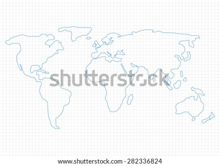 Simple world map on graph paper stock vector hd royalty free simple world map on graph paper vector illustration gumiabroncs Image collections