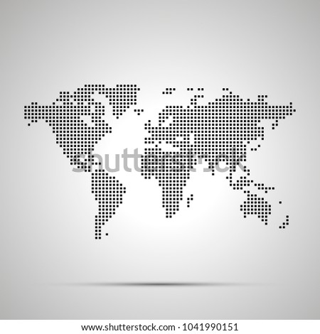 Simple world map pixelated silhouette shadow stock vector 2018 simple world map pixelated silhouette with shadow gumiabroncs Images
