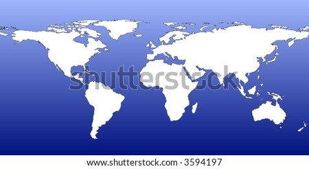 Simple World Vector - White on Fading Blue