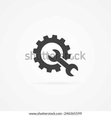 Simple wrench and gear icon, with shadow and white background. - stock vector