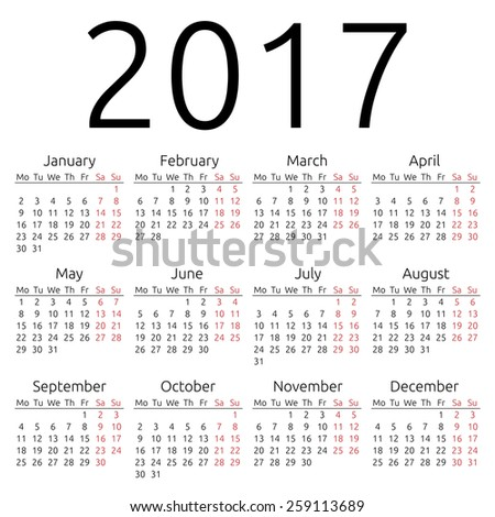 Simple 2019 Year Calendar Stock Illustration 291407903 - Shutterstock