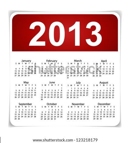 Simple 2013 year calendar, vector illustration. - stock vector
