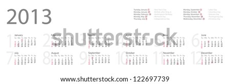 Simple year 2013 calendar with federal holidays - stock vector