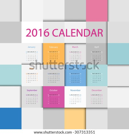 Simple 2016 year flat square calendar in bright colors - stock vector