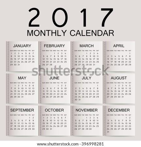 Simple 2017 year vector calendar / 2017 calendar design / 2017 calendar vertical - week starts with Sunday  - stock vector