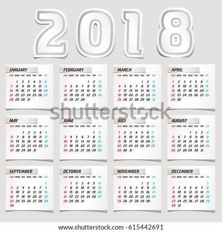 Simple 2018 year vector calendar / 2018 calendar vertical - week starts with Sunday