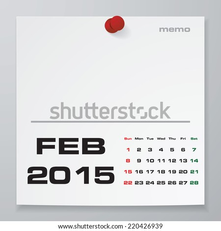 Simple 2015 Year Vector Calendar With Free Space For Your Sample Text :  February 2015