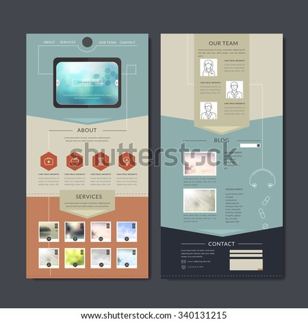 simplicity one page web design in flat style - stock vector