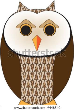 Simplified Barn Owl - stock vector