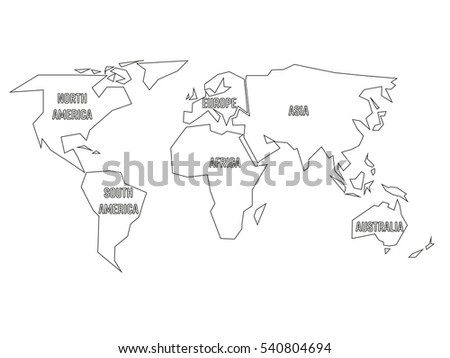 Simplified black outline world map divided vectores en stock simplified black outline of world map divided to six continents with labels flat vector illustration gumiabroncs Gallery