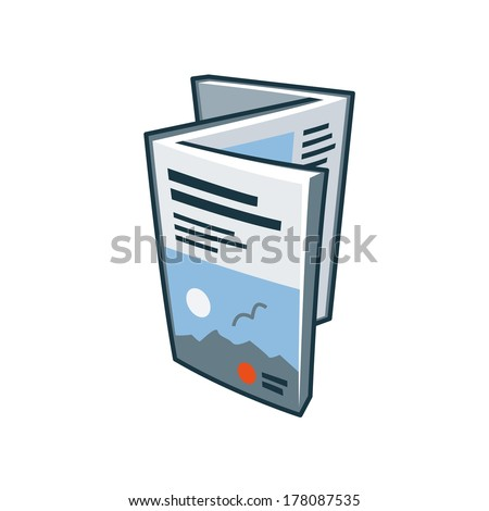 Simplified brochure or folded flyer icon with headline and picture cover in cartoon style. Print publishing icon  - stock vector