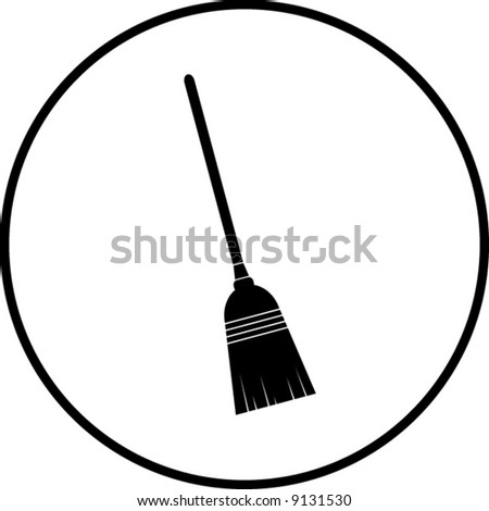 simplified illustration of a broom to be used as a sign, symbol or icon - stock vector