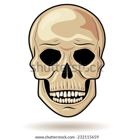 Simplified image of  human skull isolated on white. - stock vector