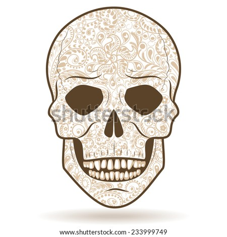 Simplified image of human skull with light-colored floral pattern   isolated on white. - stock vector