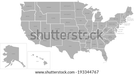 Simplified Vector Map United States America Stock Vector - Map of the united states with names