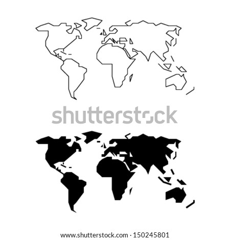 Simplified World Map - Straight lines and less details (for small size usage)  - stock vector