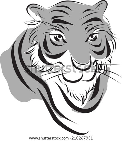 simplify  chinese ink paint style tiger