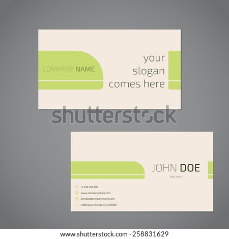 Simplistic business card design with slogan and company data - stock vector