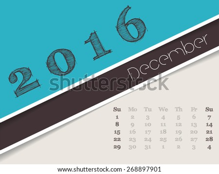 Simplistic 2016 calendar design for december month - stock vector