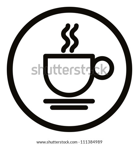 Simplistic coffee cup icon, vector. - stock vector