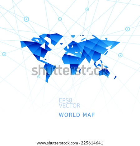 Simplistic world map. Eps8. RGB. Organized by layers. Global colors. Gradients used. - stock vector