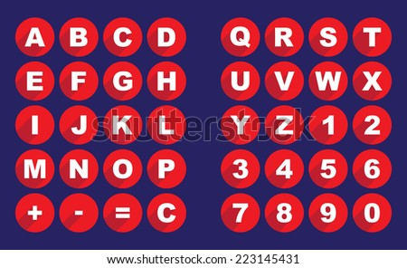 Simply alphabet letters and numbers, rounded buttons in flat design - stock vector