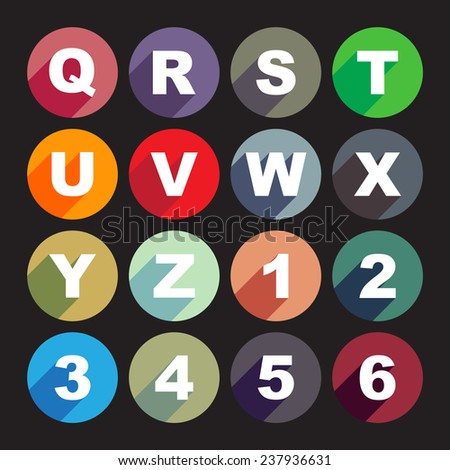 Simply alphabet letters, rounded buttons in flat design - stock vector
