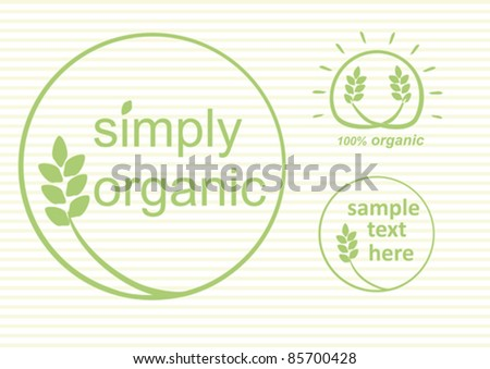 Simply organic vector label, logo or sticker for products in green - 3 varieties - stock vector