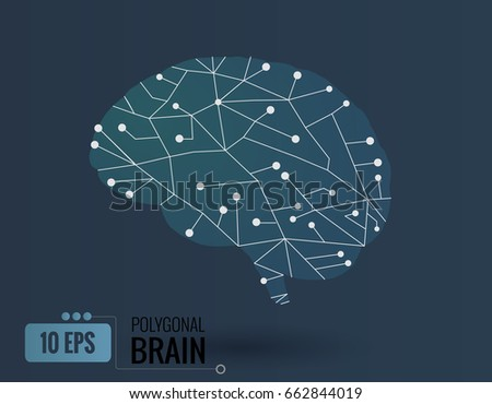 Simply stylized polygonal brain with connected dots on dark blue background