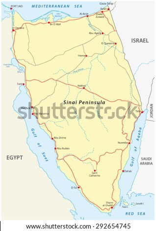 sinai peninsula road map - stock vector