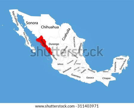 sinaloa mexico vector map silhouette isolated on mexico map editable blank vector map