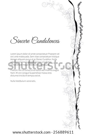 Sincere condolences vector lettering in abstract style, place for text - stock vector