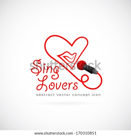 Sing lovers abstract vector symbol icon or Logo Template - stock vector