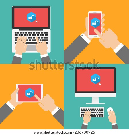 sing out  with electronic devices. smart phone, tablet, laptop, computer - stock vector