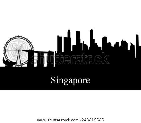 Singapore Asia city skyline silhouette. Vector illustration - stock vector