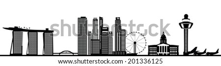 singapore asian city skyline - stock vector