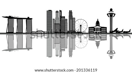 singapore asian city skyline with the marina bay infinity swimming pool - stock vector
