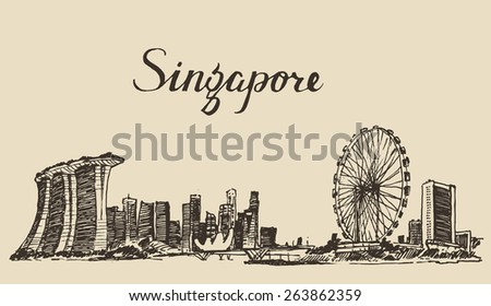 Singapore, big city architecture, vintage engraved illustration, hand drawn, sketch, Republic of Singapore - stock vector