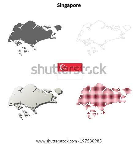 Singapore Blank Detailed Outline Map Set Stock Vector 197530985